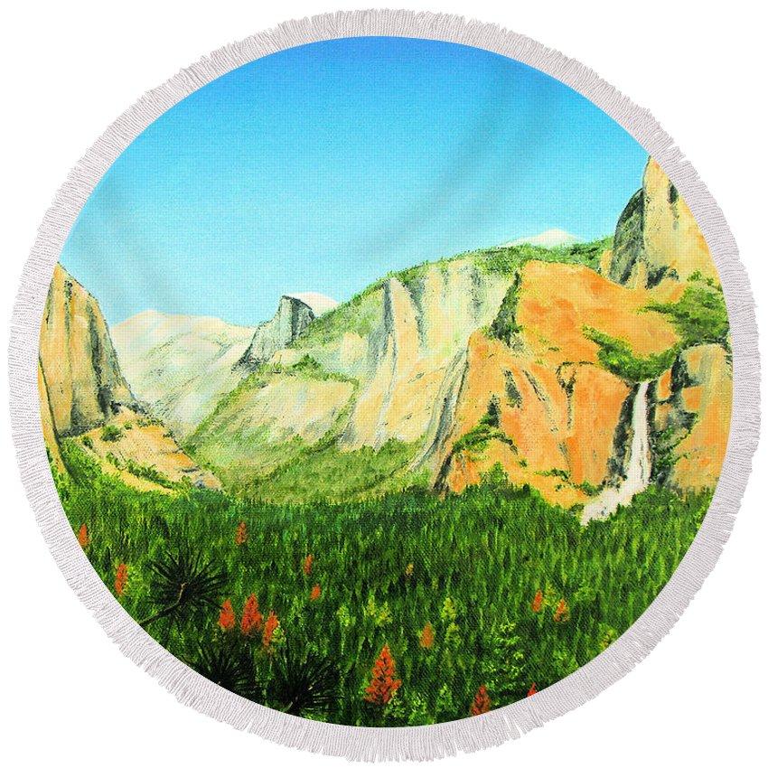 Yosemite National Park Round Beach Towel featuring the painting Yosemite National Park by Jerome Stumphauzer