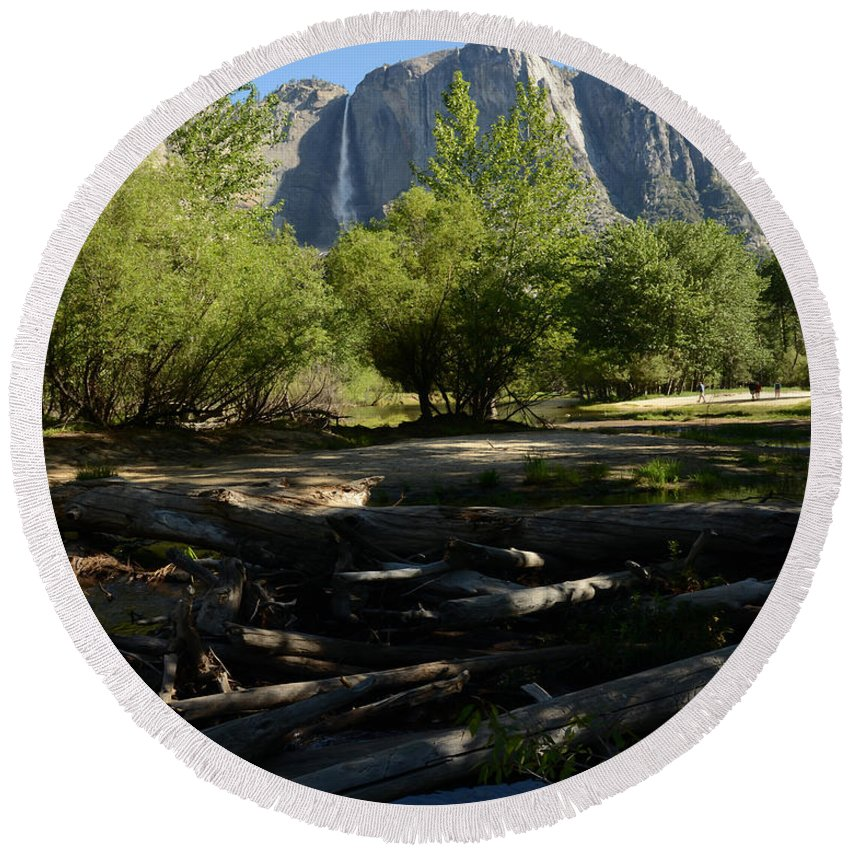 Waterfall Round Beach Towel featuring the photograph Yosemite by Pamela Peters