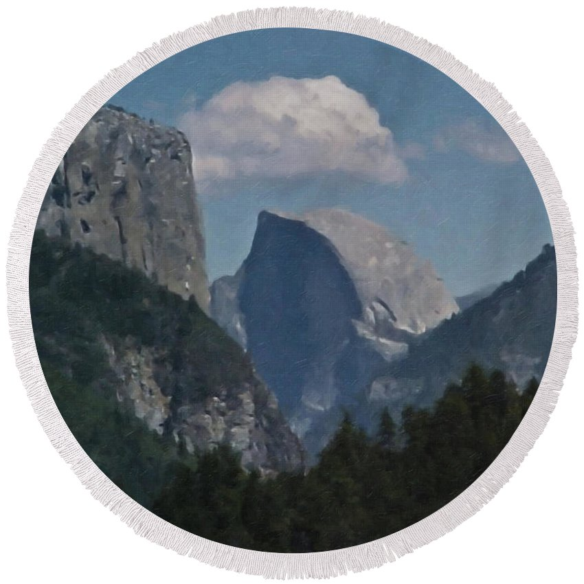 Yosemite Round Beach Towel featuring the painting Yosemite View Of El Capitan And Half Dome by Teresa Mucha