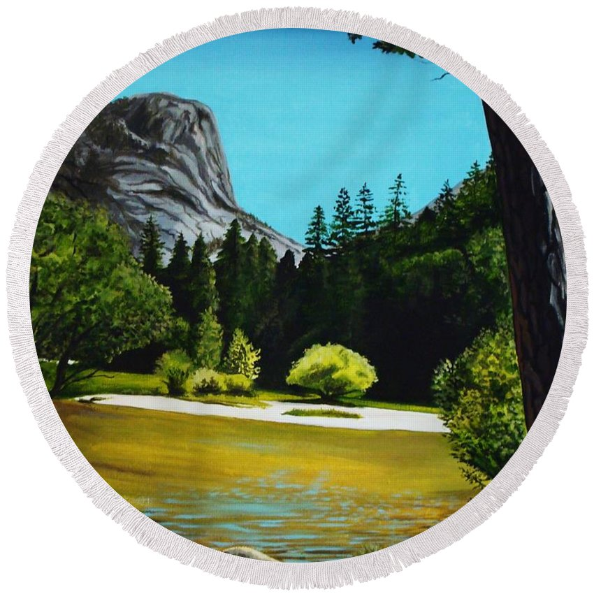 Landscape Round Beach Towel featuring the painting Yosemite's Window by Elizabeth Robinette Tyndall