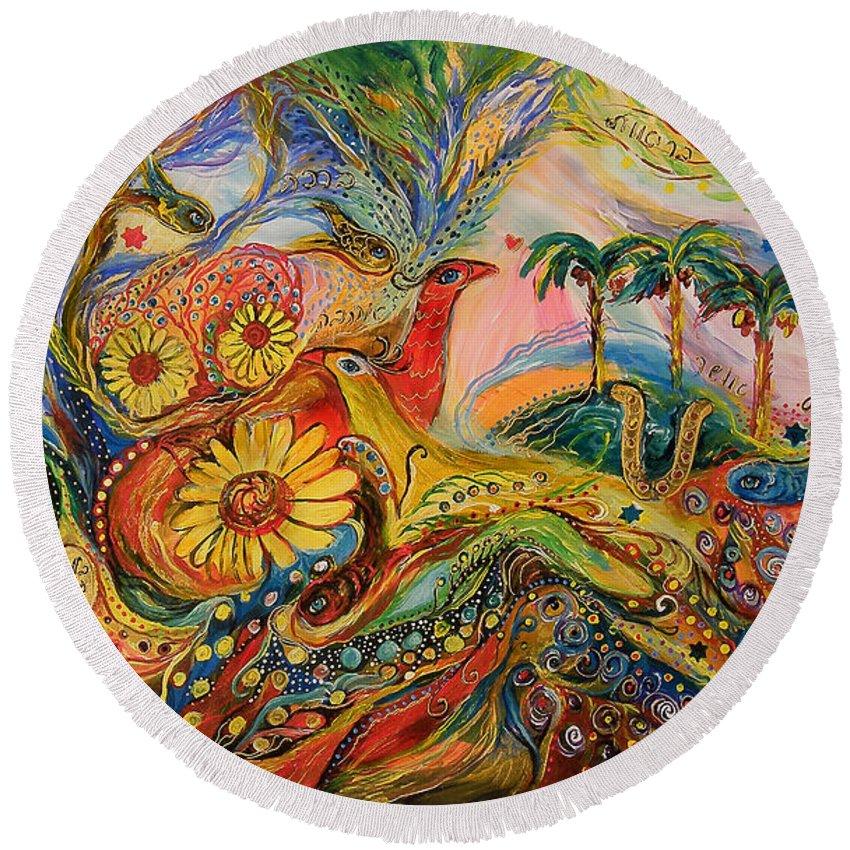 Original Round Beach Towel featuring the painting Yotvata Village by Elena Kotliarker