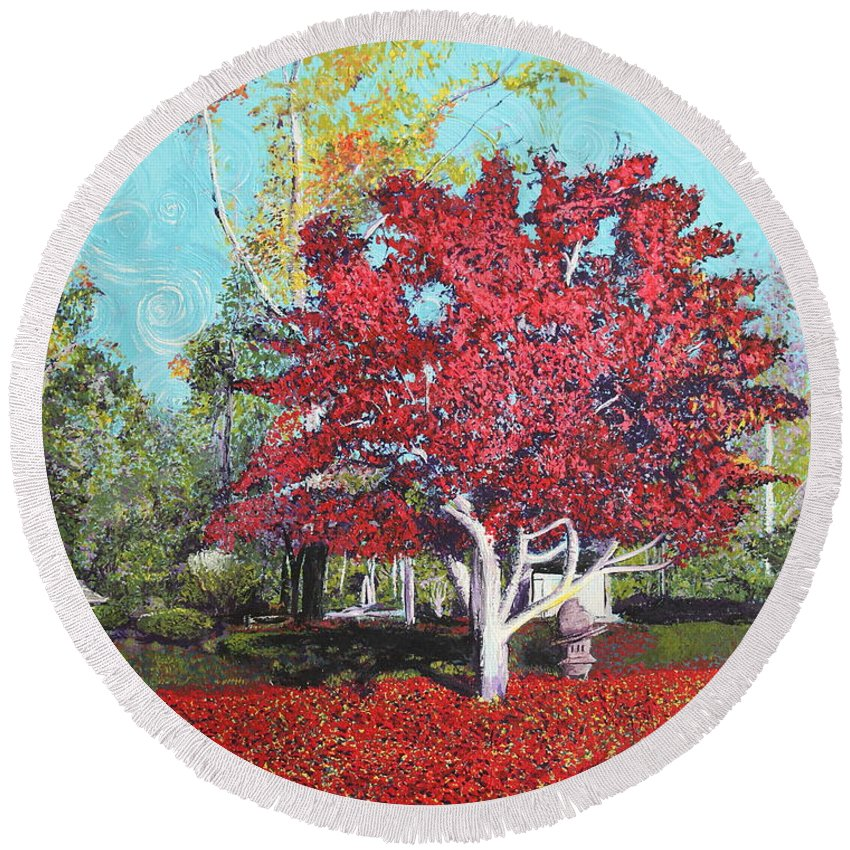 Tree Round Beach Towel featuring the painting You Are My Heart by Stefan Duncan