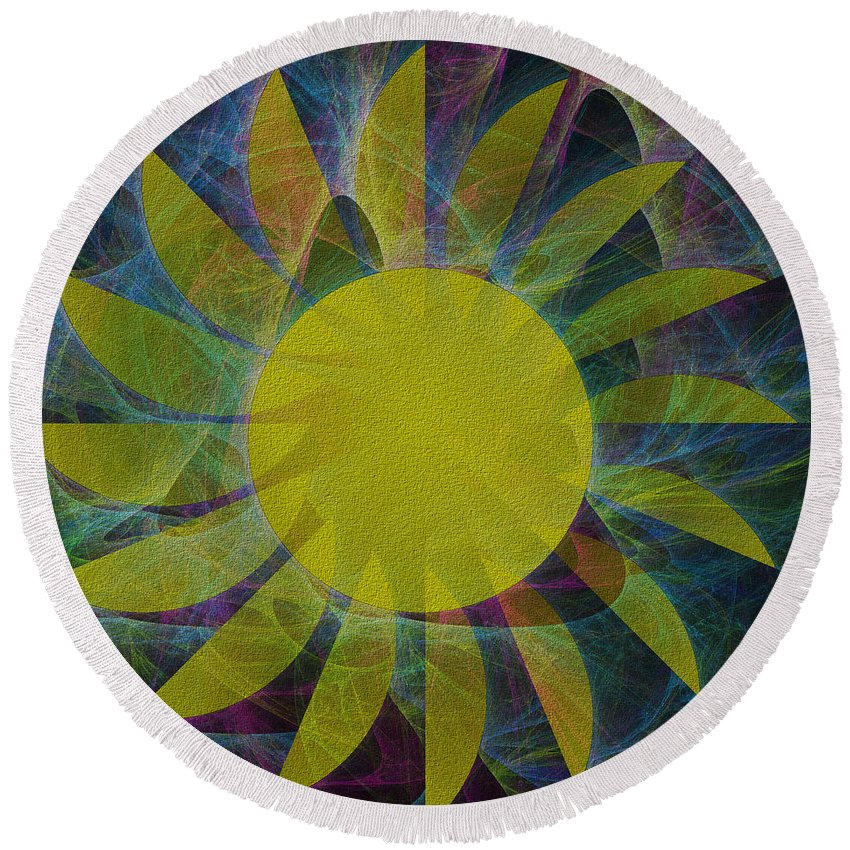 You Are My Sunshine Round Beach Towel featuring the digital art You Are My Sunshine by Kathleen Sartoris