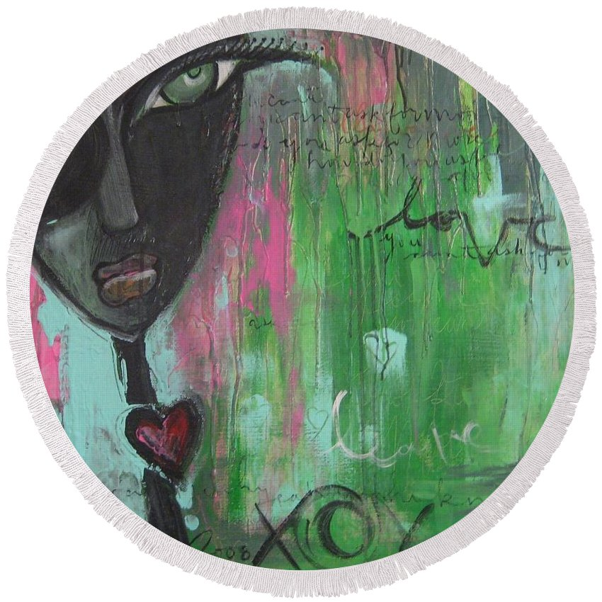 Figurative Round Beach Towel featuring the painting You Cant Ask For More by Laurie Maves ART