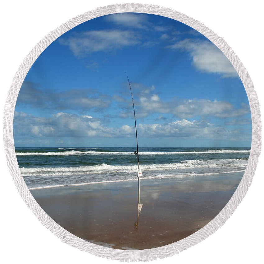 Fish Fishing Vacation Beach Surf Shore Rod Pole Chair Blue Sky Ocean Waves Wave Sun Sunny Bright Round Beach Towel featuring the photograph You Could Have Been There by Andrei Shliakhau