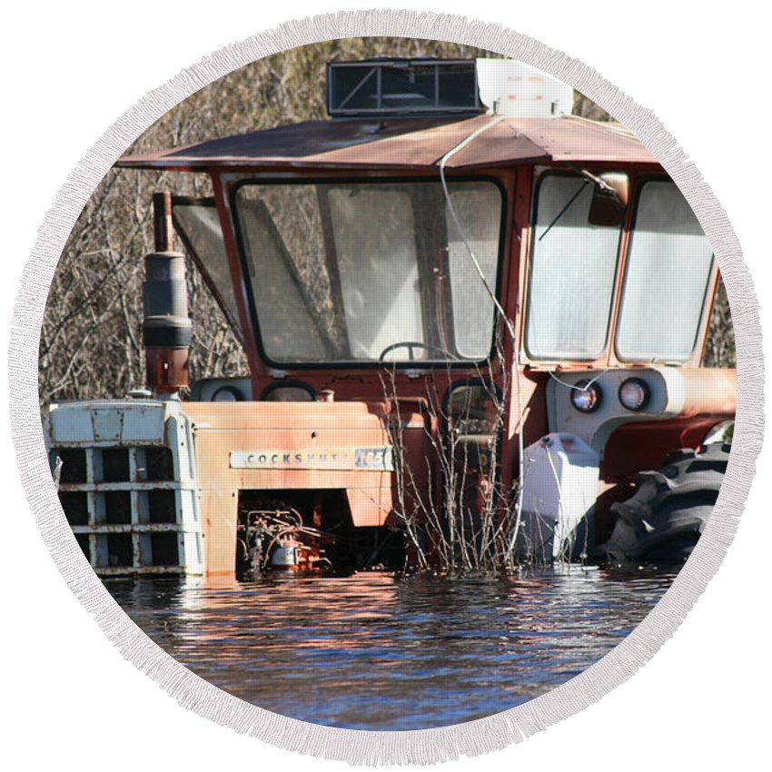 Flood Regina Sk Canada Flooding Flooded Farm Tractor Trees Grass Wrecked Loss Round Beach Towel featuring the photograph You Go Get The Tractor by Andrea Lawrence