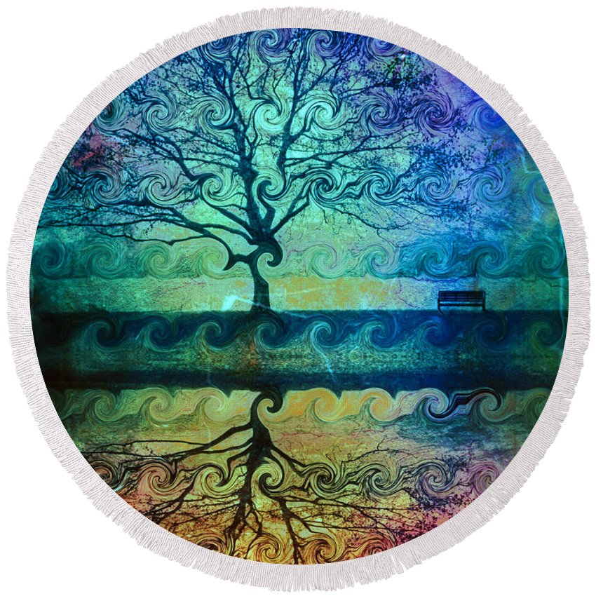 Tree Round Beach Towel featuring the photograph You Left Me Here Waiting by Tara Turner