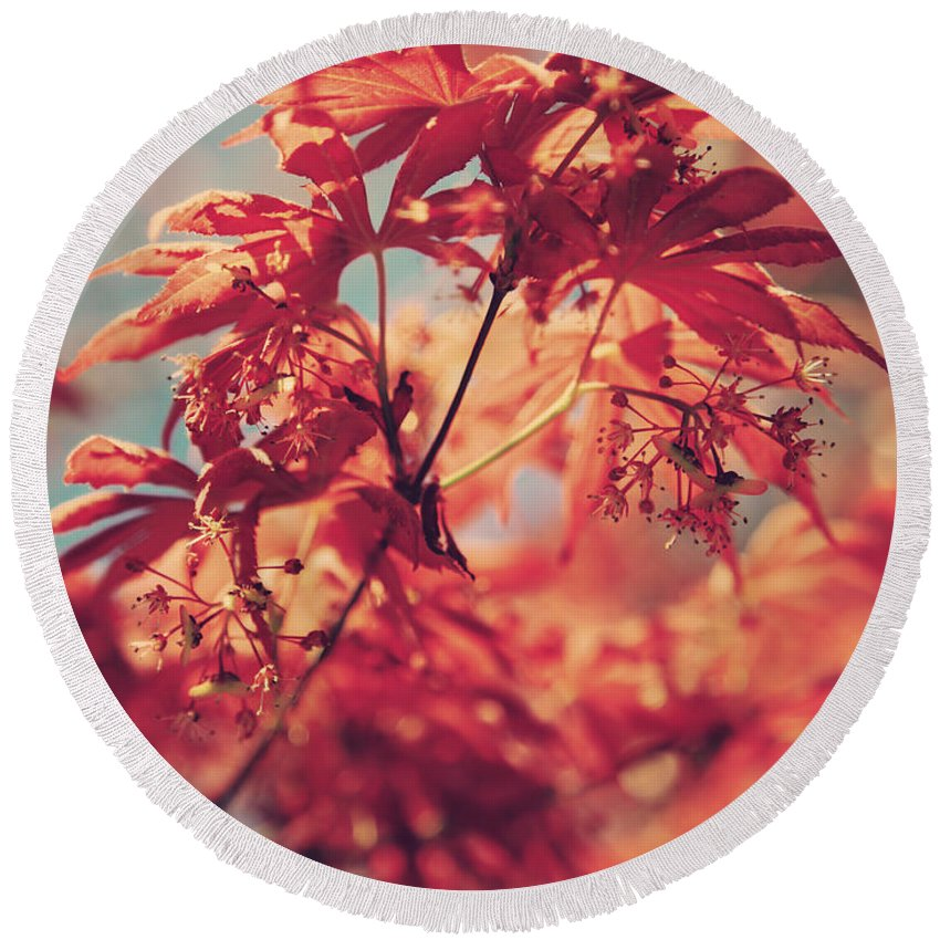 Japanese Maple Trees Round Beach Towel featuring the photograph You Make Me Feel by Laurie Search