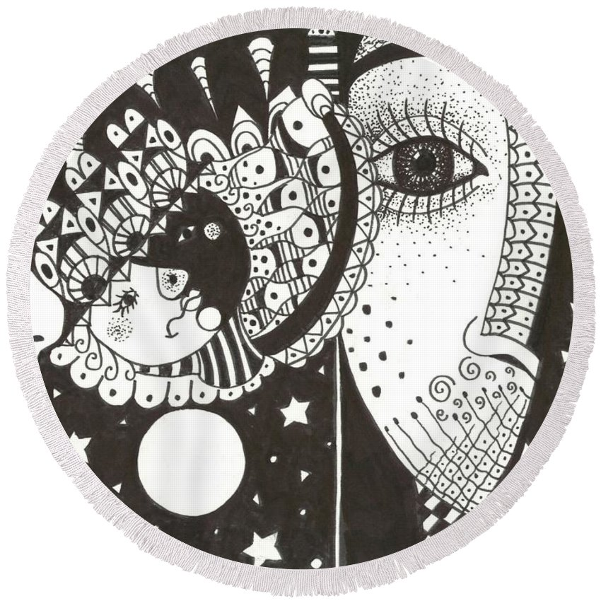 Ethereal Round Beach Towel featuring the drawing You Me The Stars And The Moon by Helena Tiainen