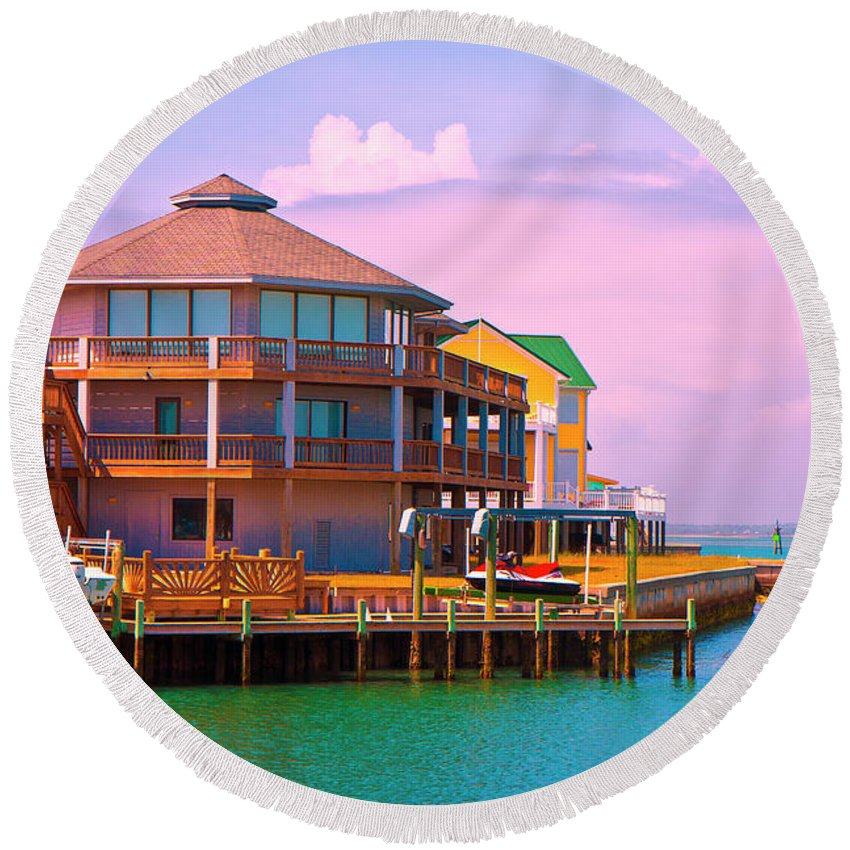 Beach Round Beach Towel featuring the photograph You Should See The Sunset by Betsy Knapp