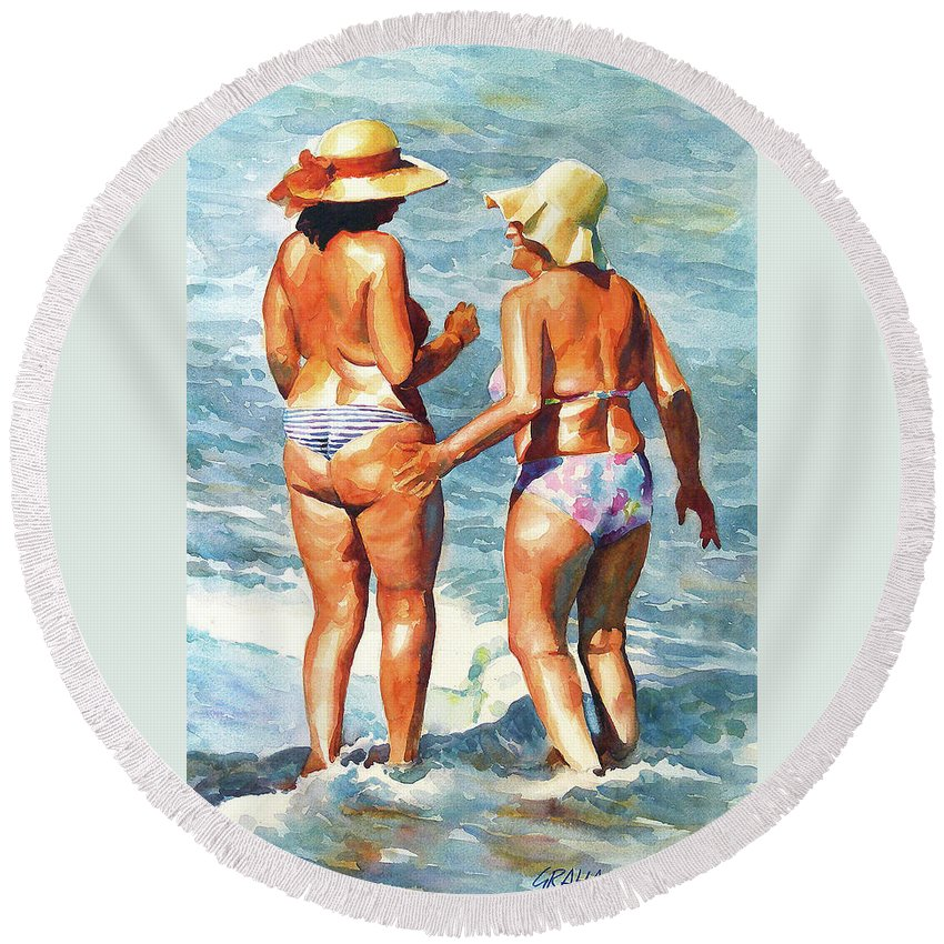Women Round Beach Towel featuring the painting You Would Tell Me by Graham Berry
