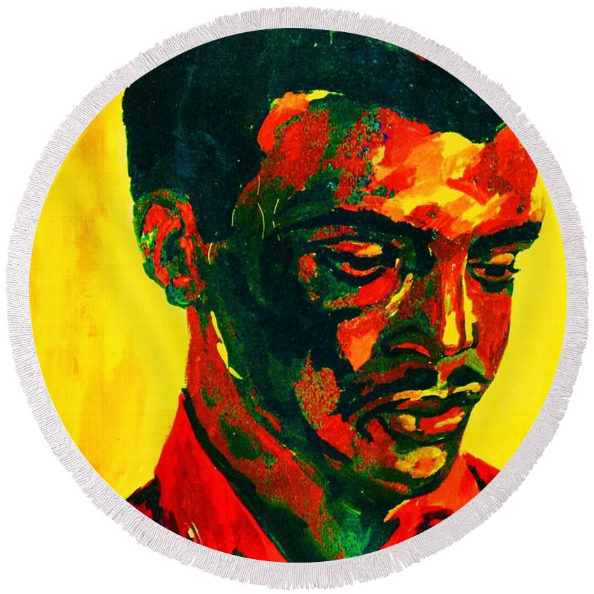 Africa Round Beach Towel featuring the painting Young African Man by Carole Spandau