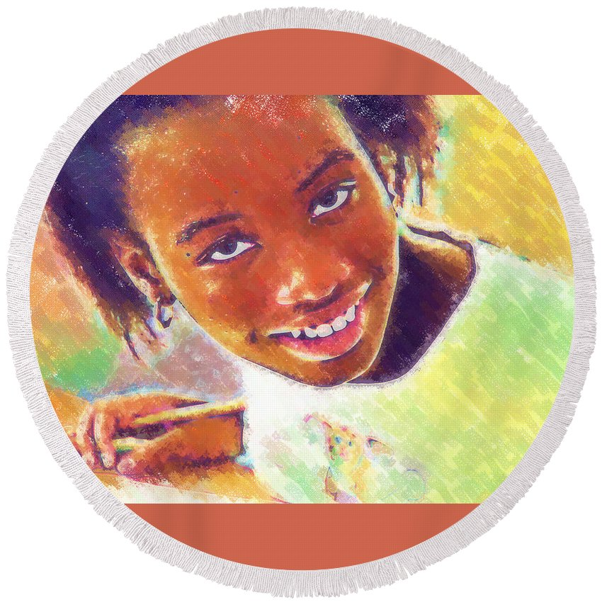 Beautiful Black Children Round Beach Towel featuring the photograph Young Black Female Teen 5 by Ginger Wakem