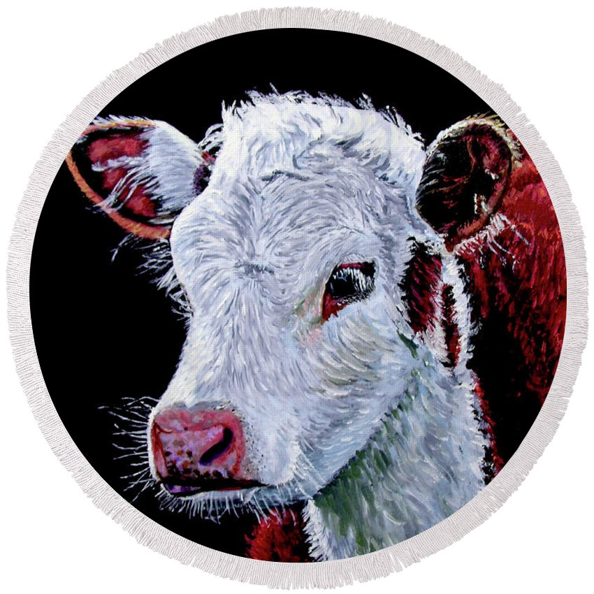 Calf Round Beach Towel featuring the painting Young Bull by Stan Hamilton
