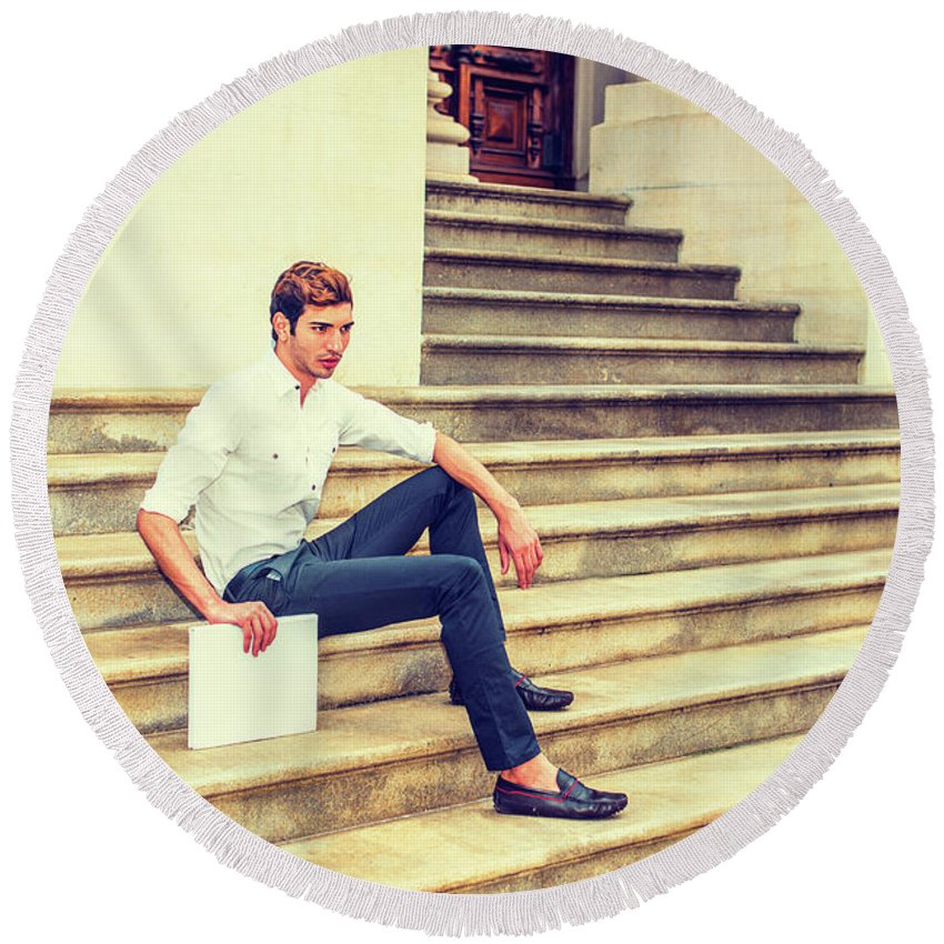 Young Round Beach Towel featuring the photograph Young Businessman Sitting On Stairs, Relaxing Outside by Alexander Image