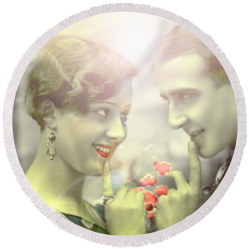 Antique Round Beach Towel featuring the photograph Young Couple Flirting by R Muirhead Art