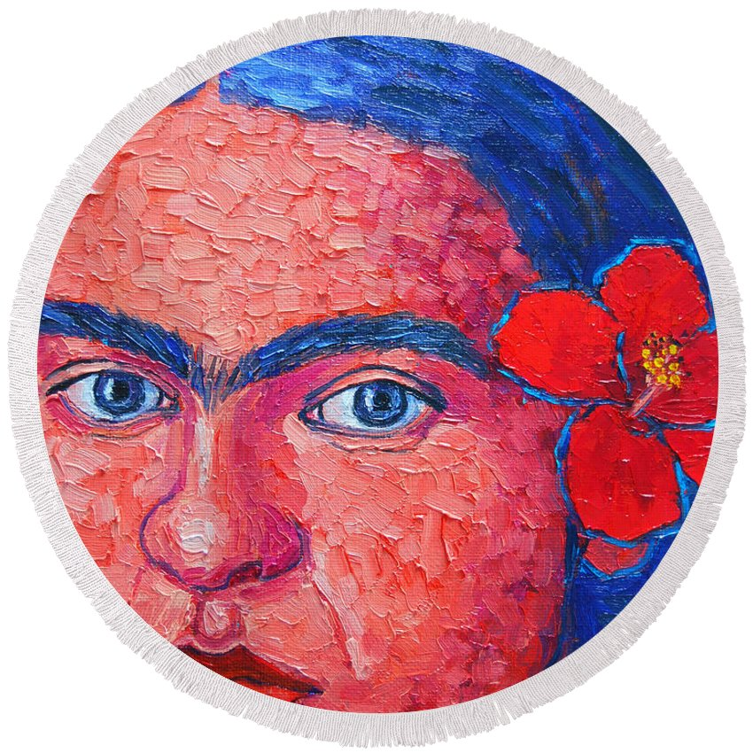 Frida Round Beach Towel featuring the painting Young Frida Kahlo by Ana Maria Edulescu