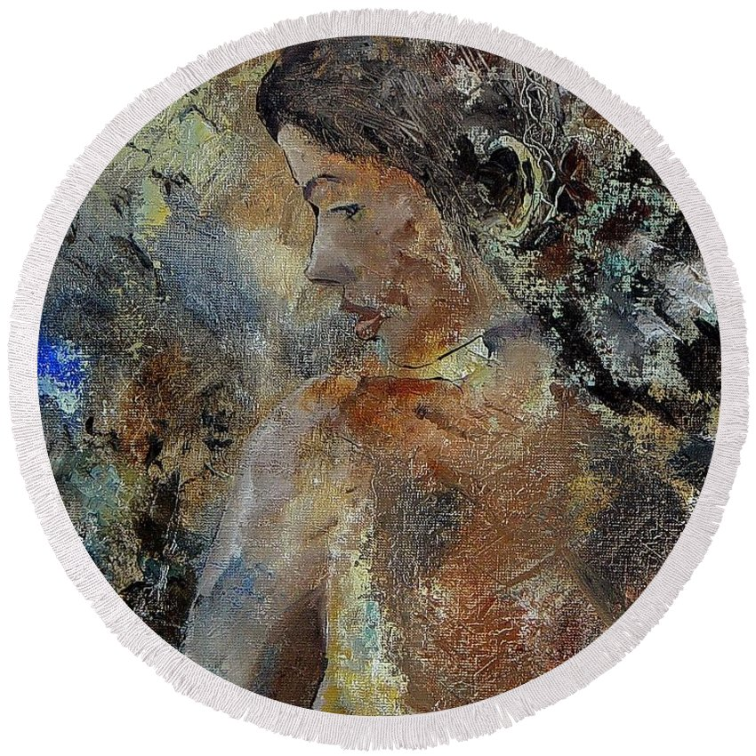 Girl Round Beach Towel featuring the painting Young Girl 45156987 by Pol Ledent