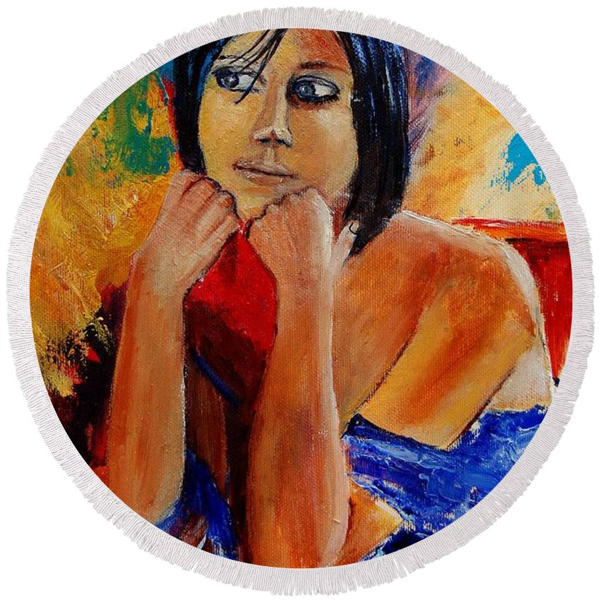Girl Round Beach Towel featuring the painting Young Girl Eg9011 by Pol Ledent