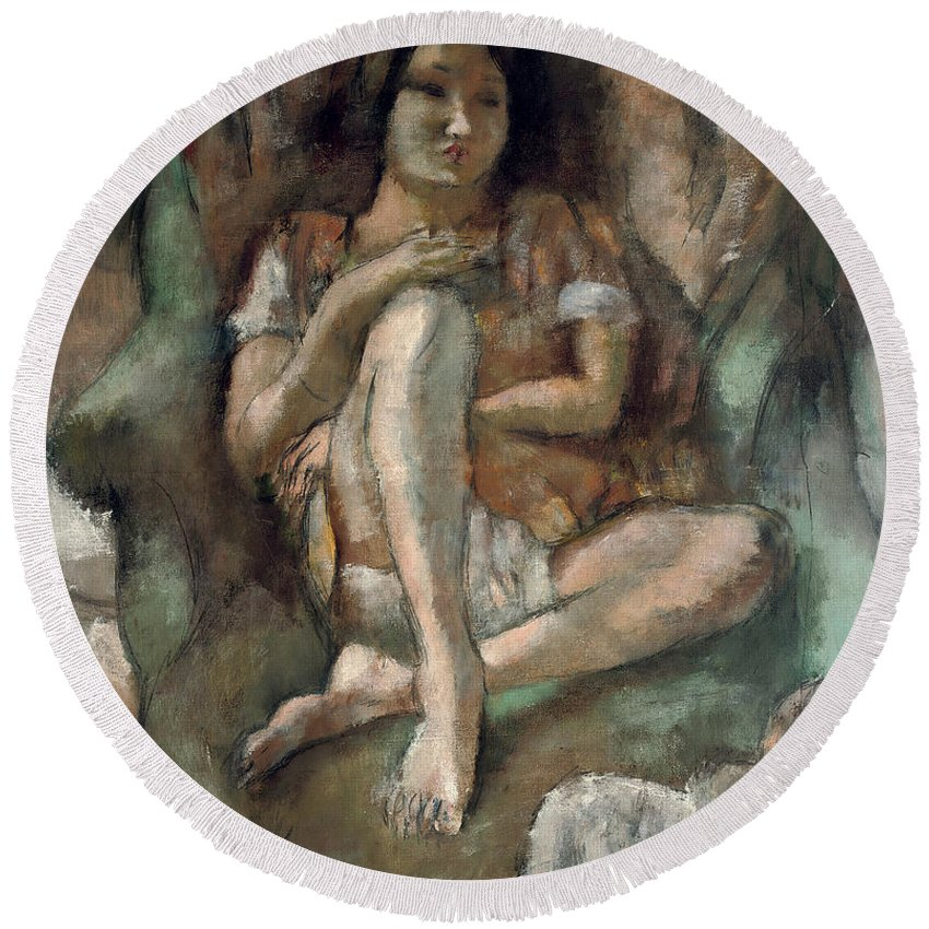 Pascin Round Beach Towel featuring the painting Young Girl In An Armchair by Jules Pascin
