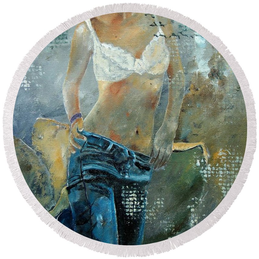 Girl Round Beach Towel featuring the painting Young Girl In Jeans by Pol Ledent