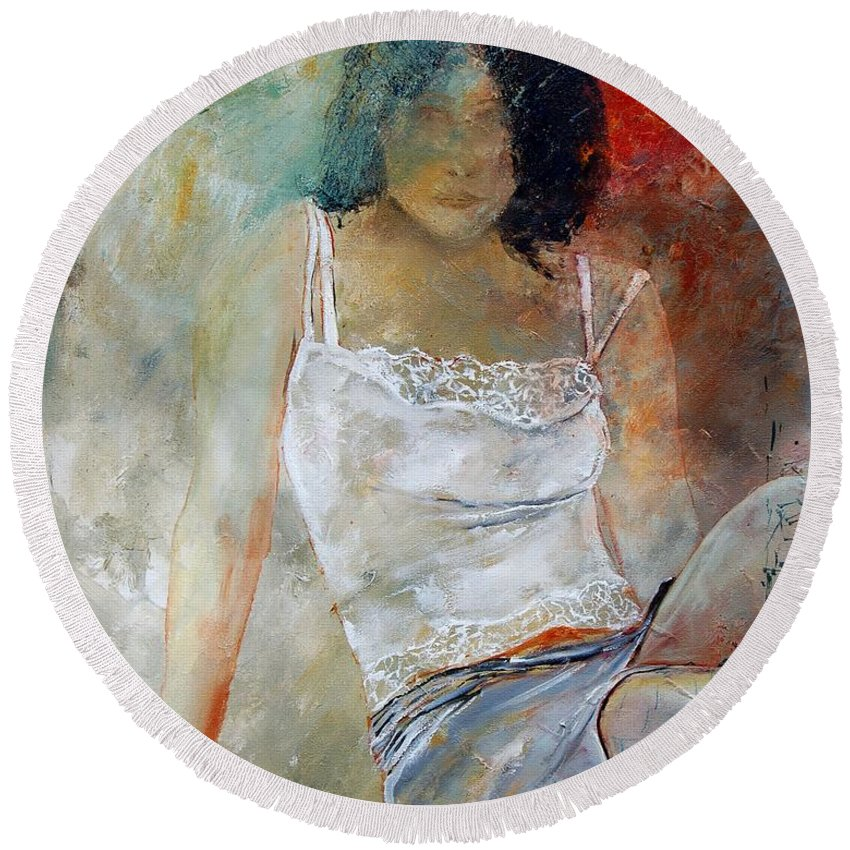 Nude Round Beach Towel featuring the painting Young Girl Sitting by Pol Ledent