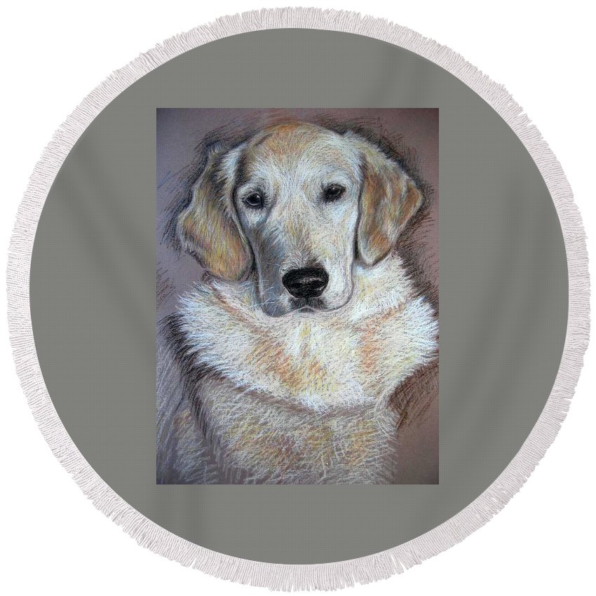 Dog Round Beach Towel featuring the pastel Young Golden Retriever by Nicole Zeug
