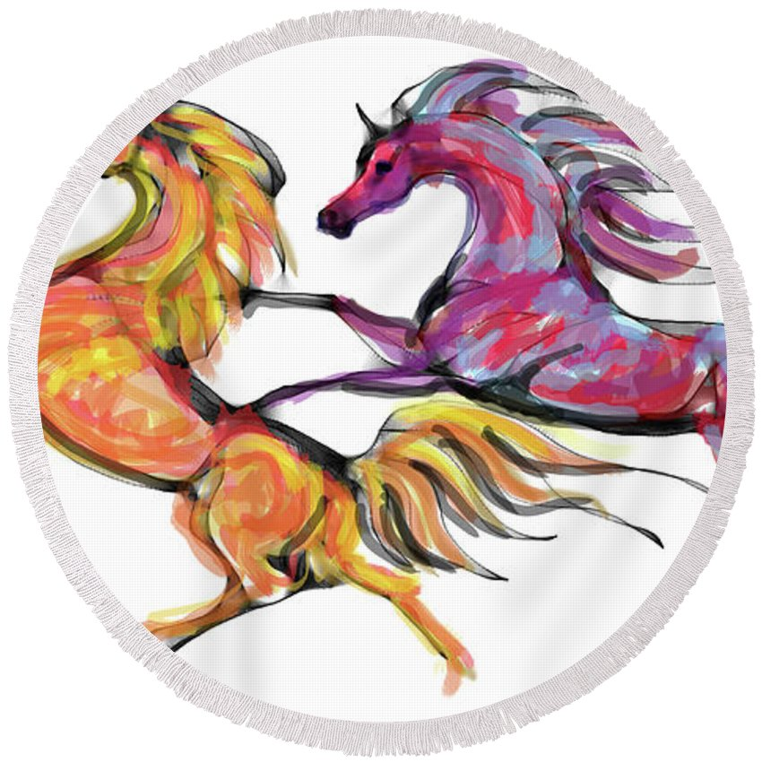 Equine Art Cards Round Beach Towel featuring the digital art Young Horses Playing by Stacey Mayer