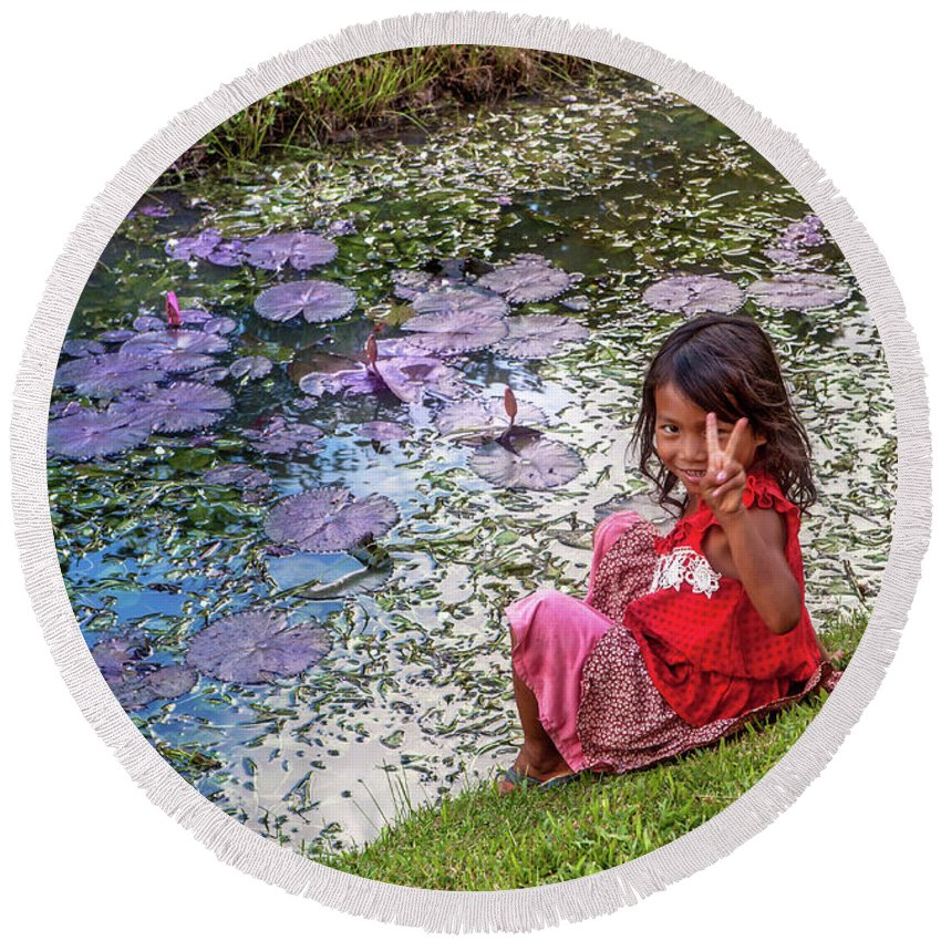 Cambodia Round Beach Towel featuring the photograph Young Khmer Girl - Cambodia by Art Phaneuf