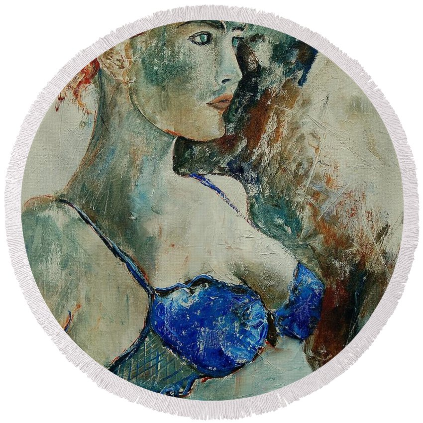 Nude Round Beach Towel featuring the painting Young Lady 56 by Pol Ledent