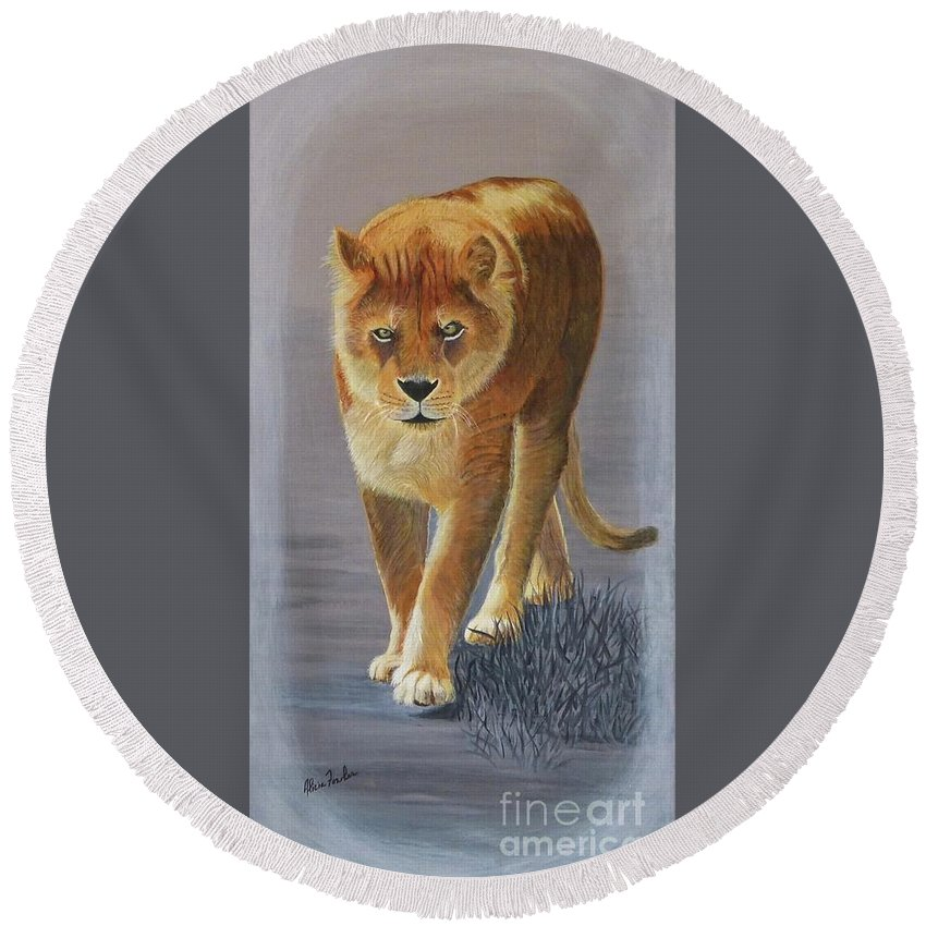Young Male Lion Round Beach Towel featuring the painting Young Male Lion by Alicia Fowler
