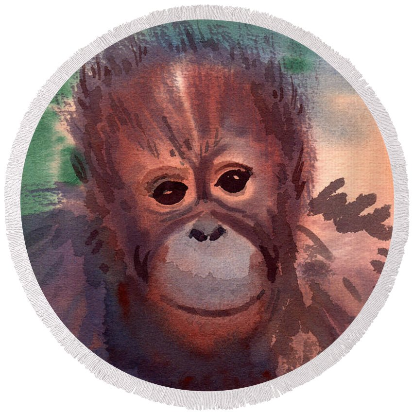Orangutans Round Beach Towel featuring the painting Young Orangutan by Donald Maier