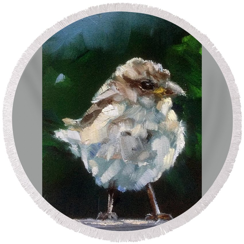 Sparrow Round Beach Towel featuring the painting Young Sparrow by Gary Bruton