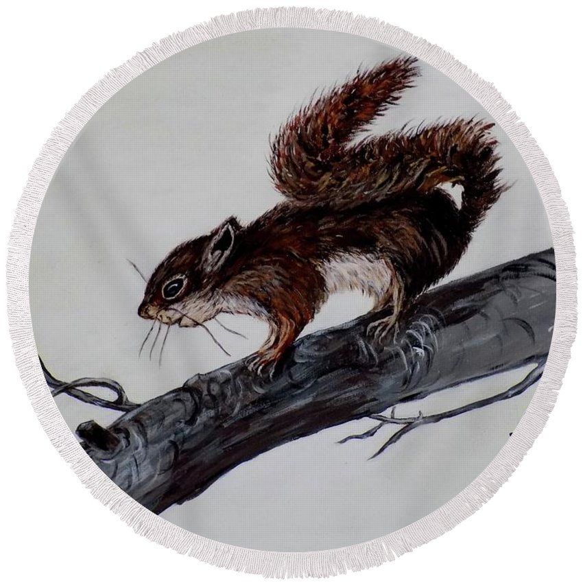 Baby Round Beach Towel featuring the painting Young Squirrel by Judy Kirouac