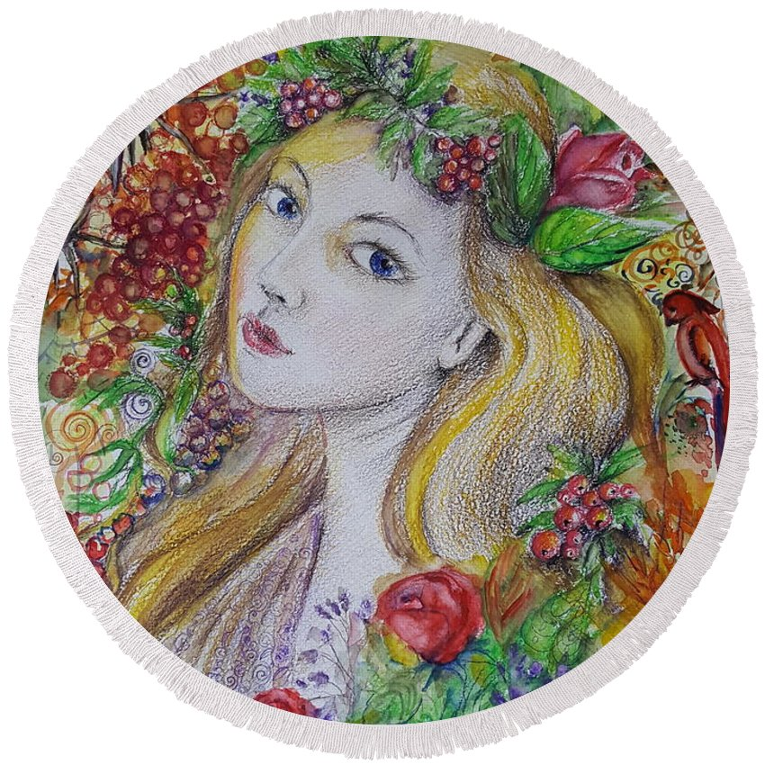 Girl Round Beach Towel featuring the painting Young Summer by Rita Fetisov