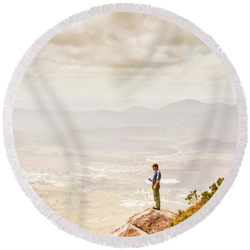 Nature Round Beach Towel featuring the photograph Young Traveler Looking At Mountain Landscape by Jorgo Photography - Wall Art Gallery