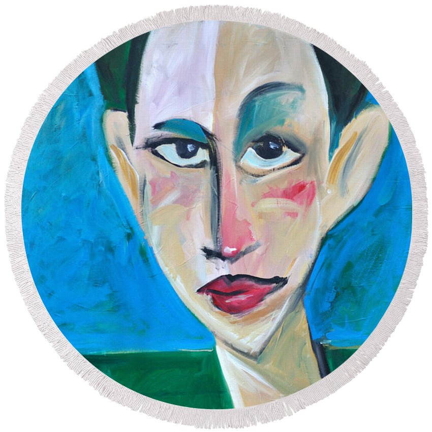Woman Round Beach Towel featuring the painting Young Woman Green Field by Tim Nyberg