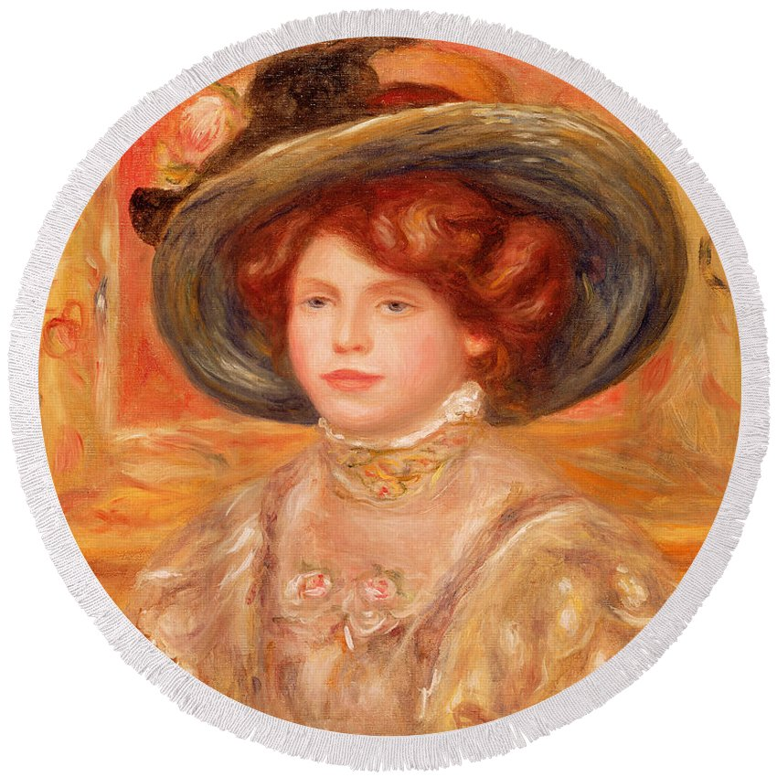 Young Round Beach Towel featuring the painting Young Woman In A Blue Hat by Pierre Auguste Renoir