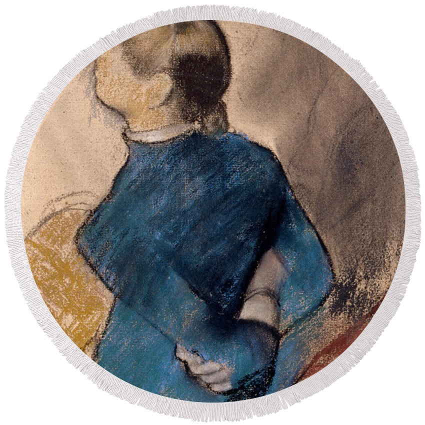 Edgar Degas Round Beach Towel featuring the drawing Young Woman In Blue by Edgar Degas
