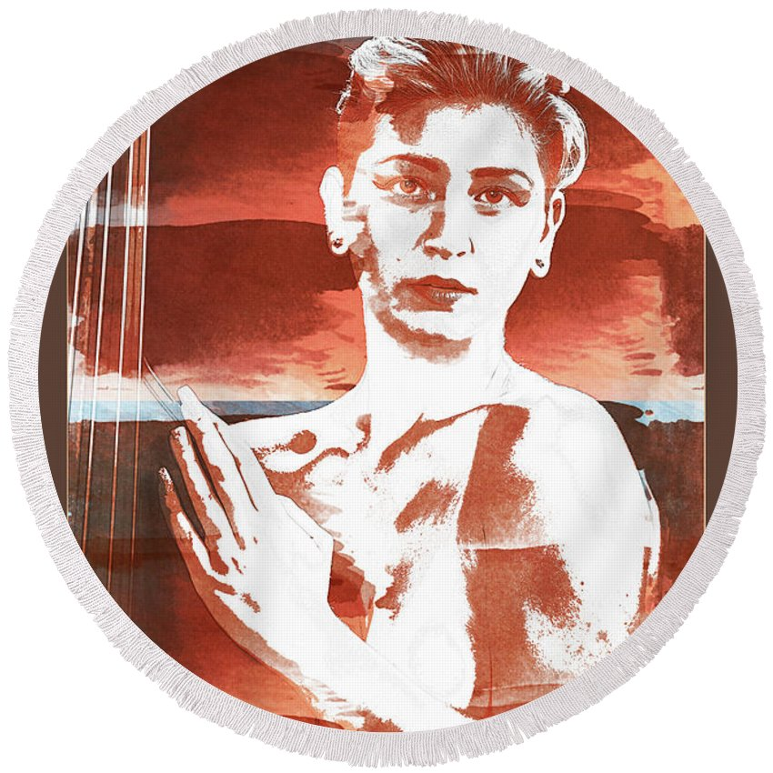 Nude Round Beach Towel featuring the photograph Young Woman Nude 1729.197 by Kendree Miller