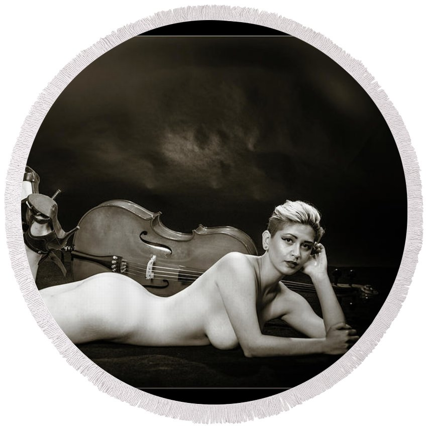 Nude Round Beach Towel featuring the photograph Young Woman Nude 1729.567 by Kendree Miller