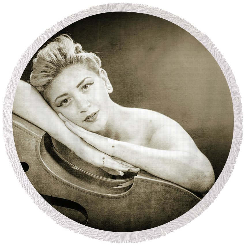 Nude Round Beach Towel featuring the photograph Young Woman Nude 1729.573 by Kendree Miller