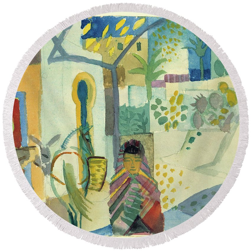 August Macke Round Beach Towel featuring the painting Young Woman With A Horse And A Donkey by August Macke