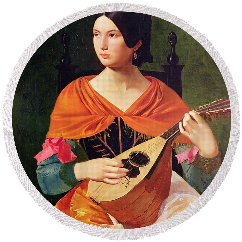Young Woman With A Mandolin Round Beach Towel featuring the painting Young Woman With A Mandolin by Vekoslav Karas