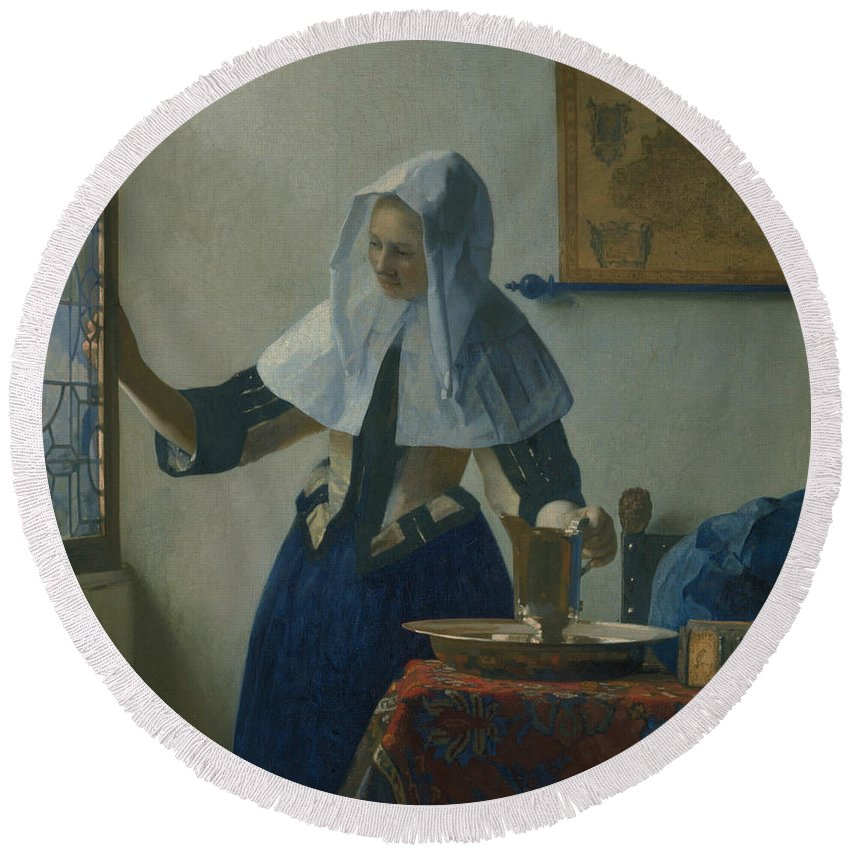 Jan Vermeer Round Beach Towel featuring the painting Young Woman With A Water Pitcher by Jan Vermeer