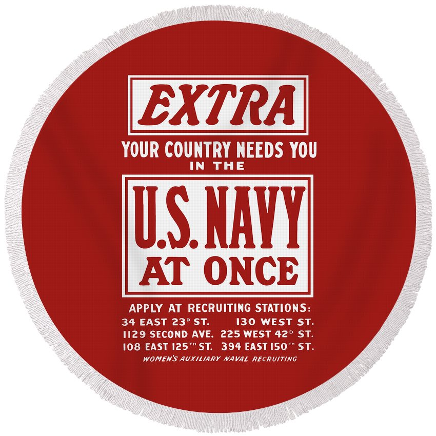 Ww2 Round Beach Towel featuring the painting Your Country Needs You In The Us Navy by War Is Hell Store