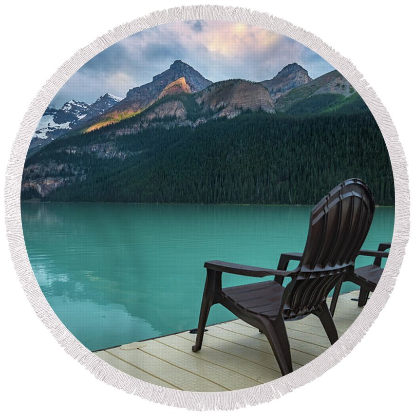 Banff Round Beach Towel featuring the photograph Your Next Vacation Spot by William Freebilly photography