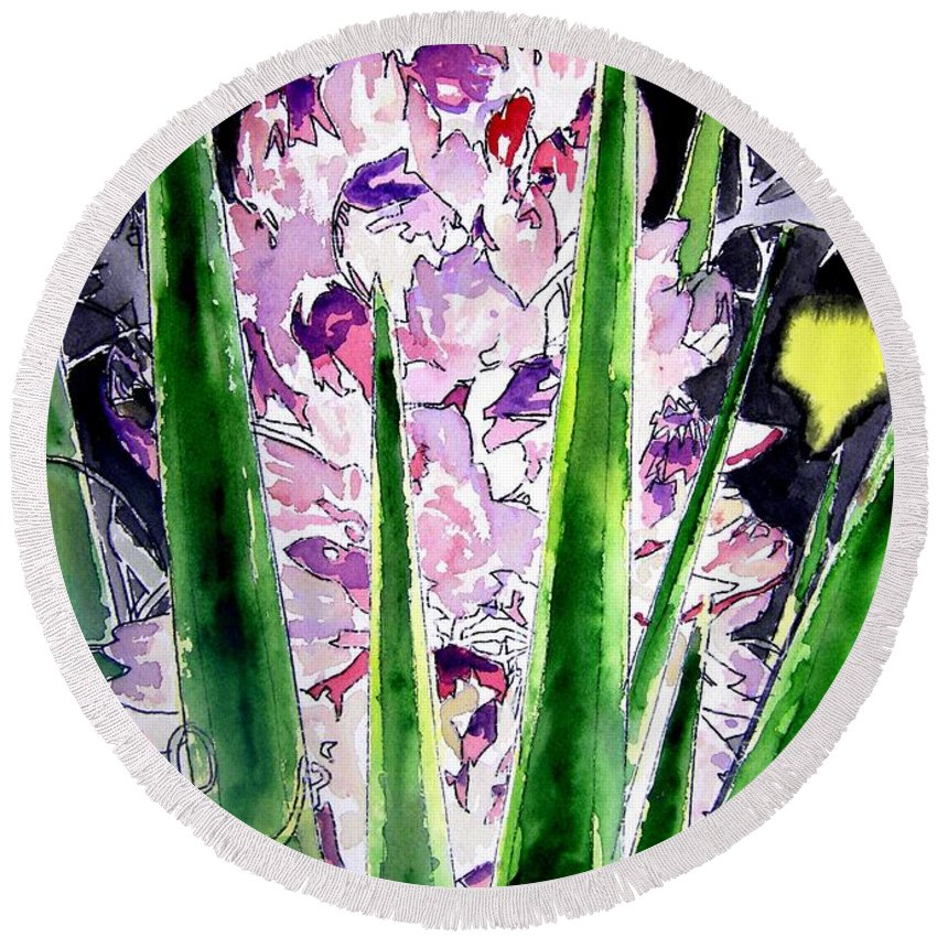 Flower Round Beach Towel featuring the painting Yucca Flower Plant Southwestern Art by Derek Mccrea