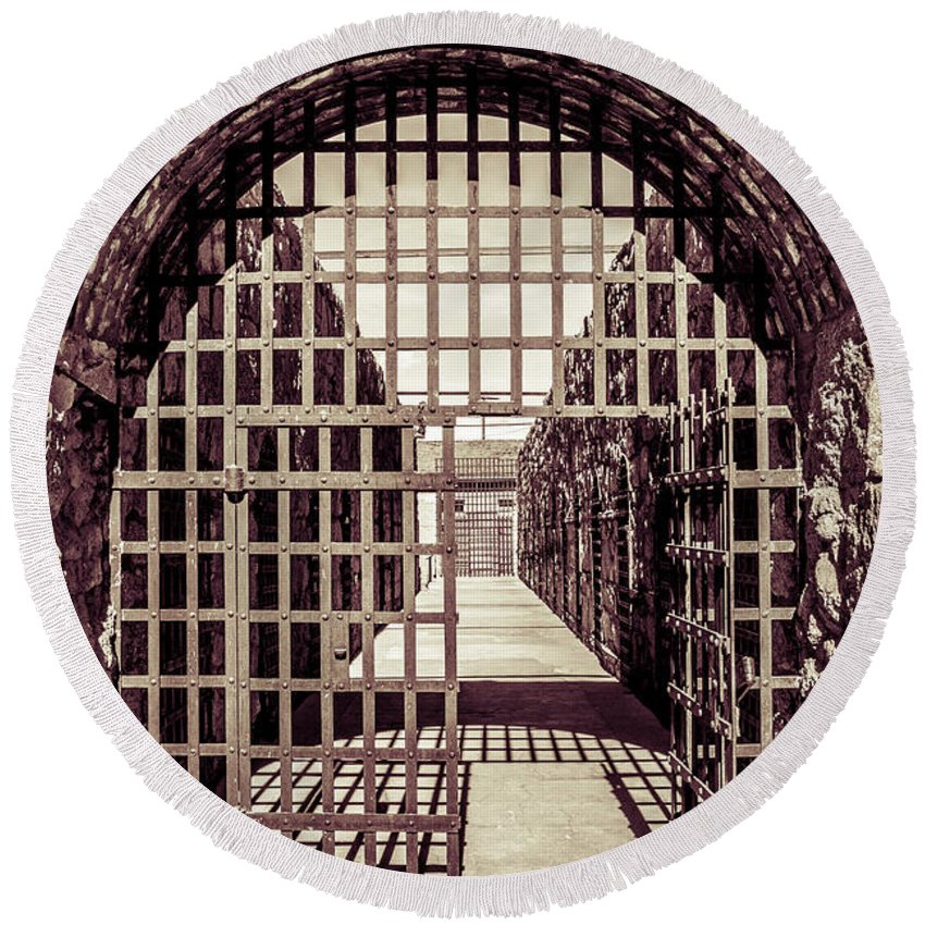 Architecture Round Beach Towel featuring the photograph Yuma Territorial Prison Gate by Robert Bales