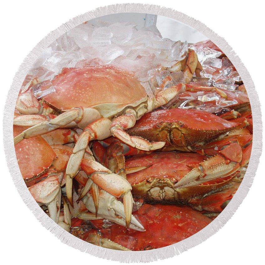 Crabs Round Beach Towel featuring the photograph Yummy by Deborah Crew-Johnson